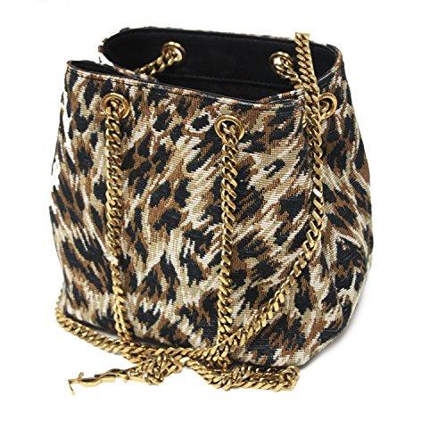 d33521f79340 Saint Laurent YSL Emmanuelle Woven Leopard Print Bucket Chain Bag 425068  2094