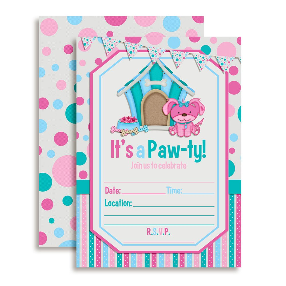 Puppy Paw ty Birthday Party Invitations 20 5x7 Fill in Cards with Twenty White Envelopes by AmandaCreation