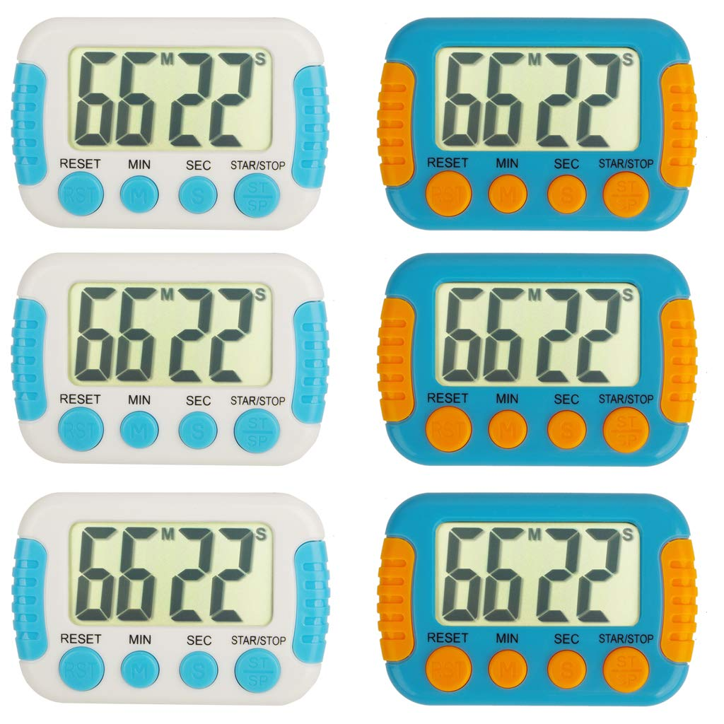 Classroom Or Meeting Timers for Kids and Teacher Digital Kitchen Timer, Count-Up & Count Down for Cooking Baking Sports Games Office Study (6pcs Blue&White)
