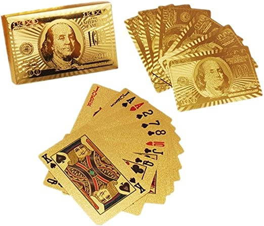 CESDes 2 Decks of Gold Foil Playing Cards for Double The Fun and Card Tricks Too