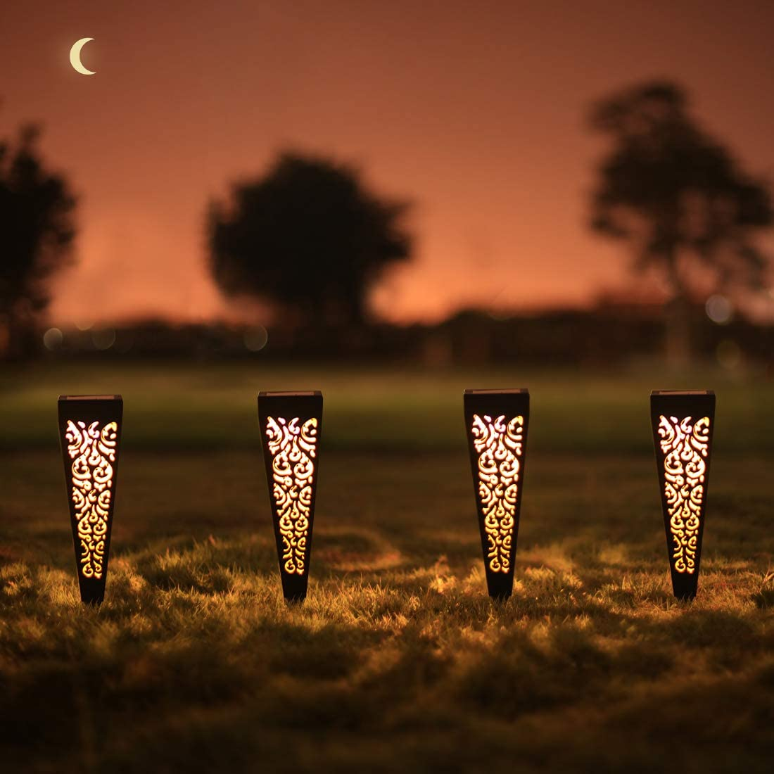 6Pcs Solar Pathway Garden Lights Outdoor Decorative Stakes, Waterproof LED Landscape Lighting for Lawn, Walkway, Patio, Yard (8 Lumens)