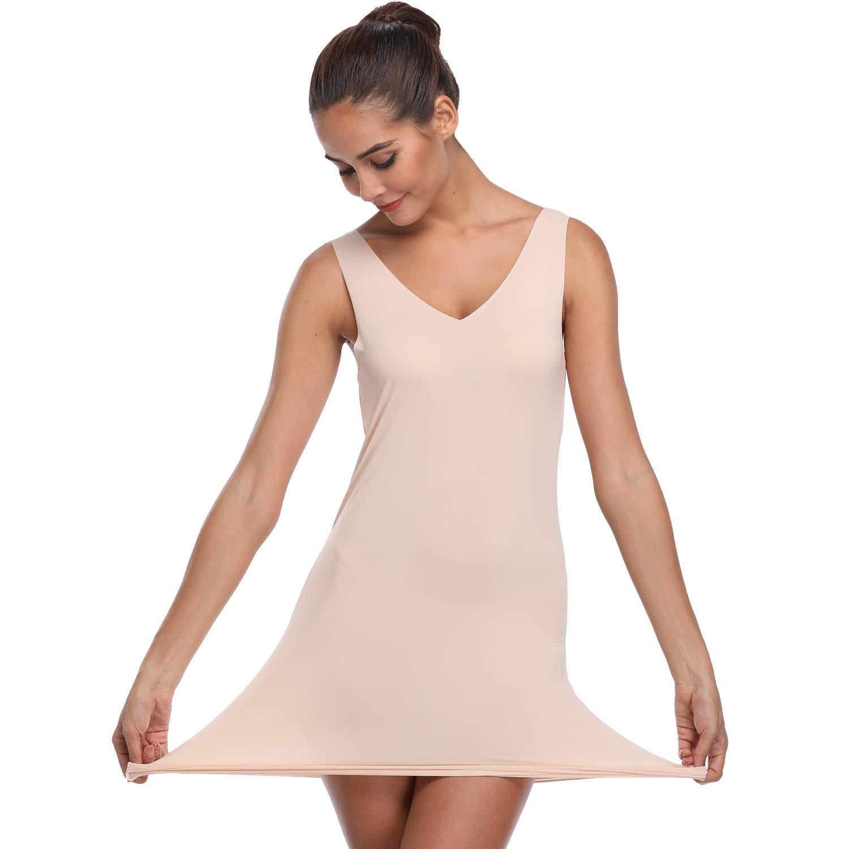 e301f17e7a Long Full Slips for Under Dresses Women Shapewear Slimming Cami Tops  Seamless Body Shaper at Amazon Women s Clothing store
