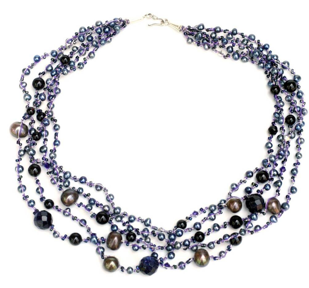 NOVICA Onyx Dyed Cultured Freshwater Pearls Sterling Silver Beaded Necklace,19.25'' 'Rivers of Color'
