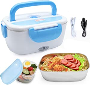 VECH Car Electric Heating Lunch Box 110V & 12V 40W 2 in1 Home Electric Thermal Lunch Box Food Heater Warmer, Stainless Steel Food Heater 1.5L for Heat Preservation, Office, School, Traveling (Blue)