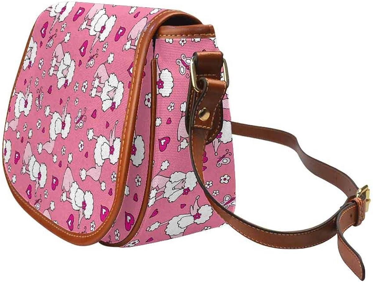 InterestPrint Dog Poodle Gray Pink Womens Saddle Bag Purse Crossbody Shoulder Travel Satchel