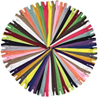 50 Pcs 20 Colors Mixed 22 Inch 55cm Crafts Nylon Zippers Bulk Nylon Coil Zippers for Tailor Sewing