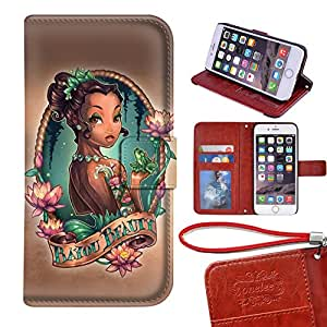 Customized Disney Princess and the Frog Tattoo Art DesignCaso Case Cover for Apple Funda iphone 6 - negro 08