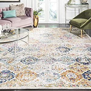 Safavieh Madison Collection MAD611B Boho Chic Floral Medallion Trellis Distressed Area Rug, 5'1″ x 7'6″, Cream / Multi