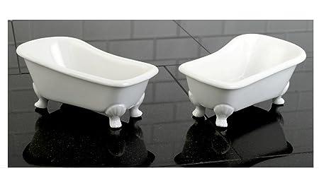 Bathtub Accessories Soap Dish Set Of 2 Ceramic Miniature Clawfoot