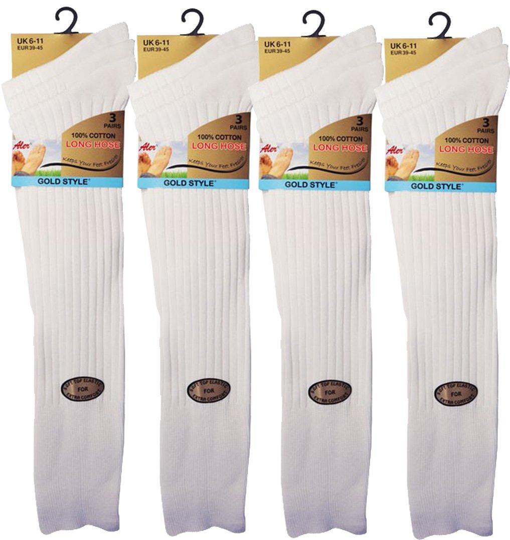12 pairs Men's 100% Pure Cotton ribbed long hose socks, Knee high Pure Cotton Socks