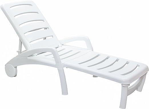 Resol Ibiza - Tumbona ajustable de plástico para jardín o casa, color blanco: Amazon.es: Hogar