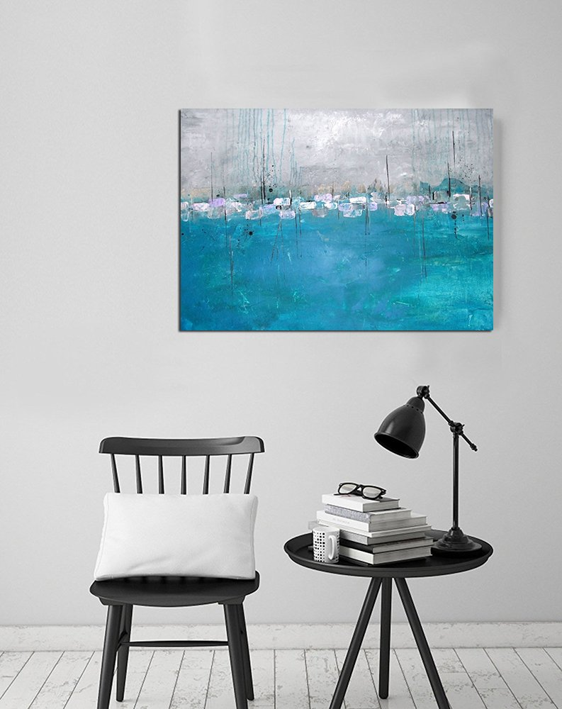 MOXO Blue Navy Sea Beach Canvas Seaside Beach Coconut Tree Pictures Photo Blue Sky Ocean Summer Prints on Canvas for Wall Art