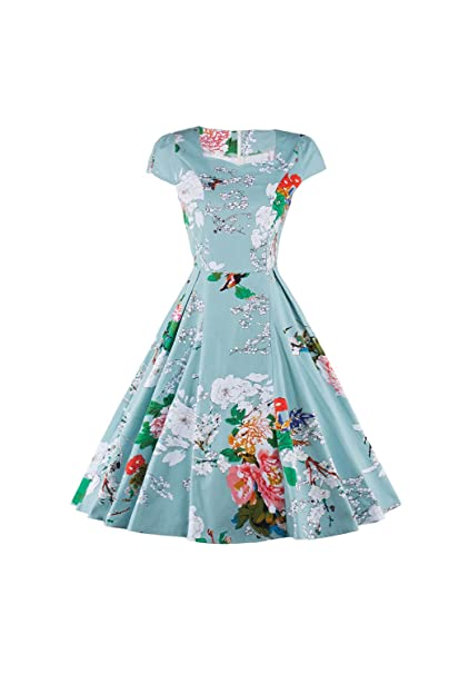 Vintage años 1940 Floral Midi-Vestido de noche vestido de fiesta de las mujeres Blue