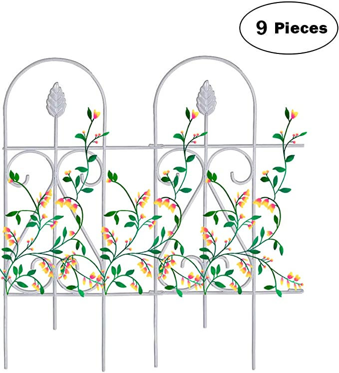 """Amazon.com : Mr.Garden Edging Fence Metal Decorative Garden Barrier Panels 9PACK 15""""x32"""", Dog Outdoor Fence, Coated Folding Border Fences for Garden Patio Tree Ring, White (Without Decorative Flowers) : Garden & Outdoor"""