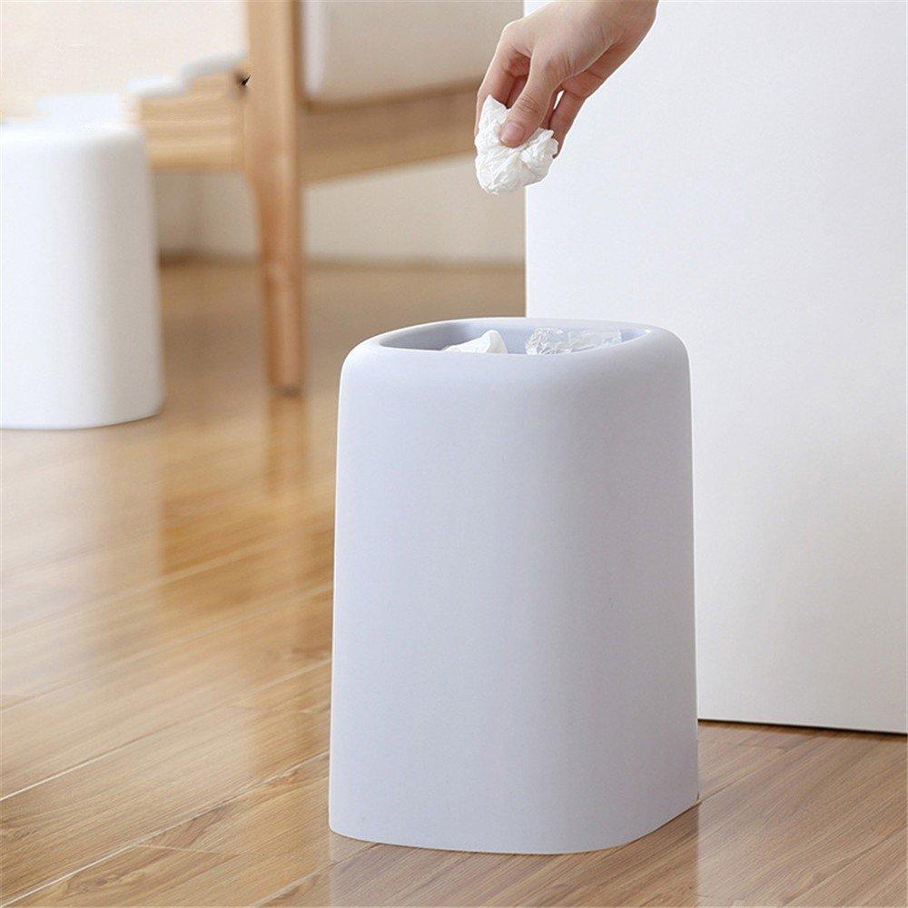 XINLE XINLE XINLE Cubo de Basura Simple de la Papelera Cesto de Basura Doble de la Papelera del Cuarto de Baño del Dormitorio de la Basura, Blanco a1b04c