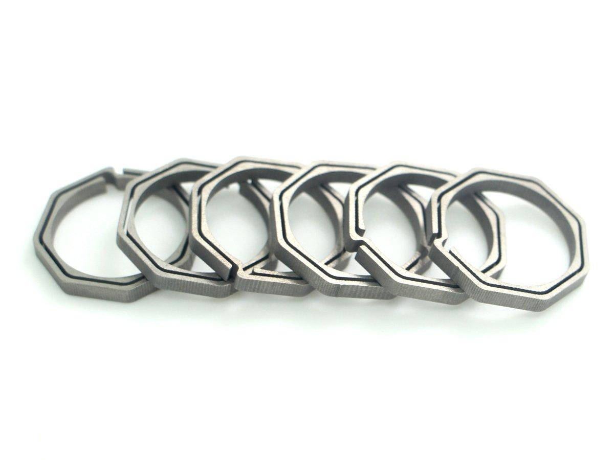 6 Pack//Lot 22mm TC4 Titanium Ti Keyring Original Color Octagon Key Ring