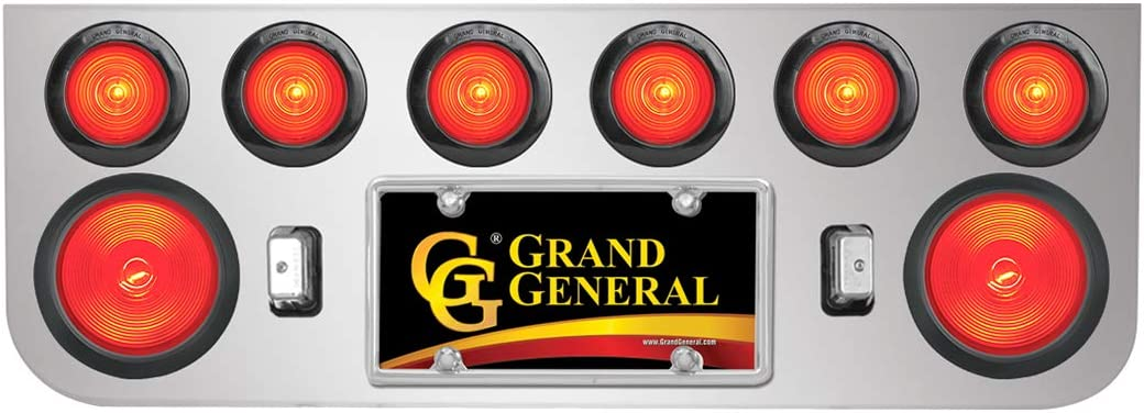 GG Grand General 92842 Stainless Steel Rear Panel with 2-4 inches and 6-2-1//2 inches Red Beehive Light