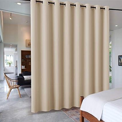 PONY DANCE Cortinas Cocina Dormitorio Modernas Color Beige/Divisores Tela  Termica Aislantes Ruido Luz Decor Salon Comedor Oficina Probador, 1 Panel,  ...