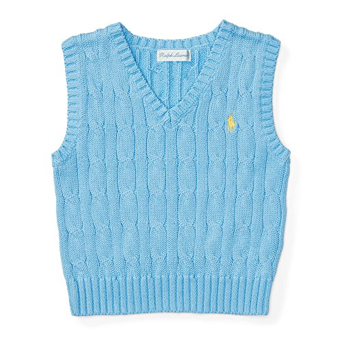 RALPH LAUREN Baby Boys' Cable-Knit Cotton Sweater Vest, 6 Months, Sterling Blue