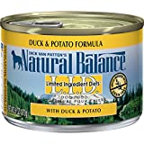 Natural Balance L.I.D. Limited Ingredient Diets Canned Wet Dog Food, Grain Free, Duck and Potato Formula, 6-Ounce (Pack of 12)