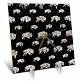 3dRose Uta Naumann Pattern - Black and White-Cool Winter Animal Buffalo and Snow Pattern - 6x6 Desk Clock (dc_269150_1)