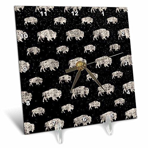 3dRose Uta Naumann Pattern - Black and White-Cool Winter Animal Buffalo and Snow Pattern - 6x6 Desk Clock (dc_269150_1) by 3dRose