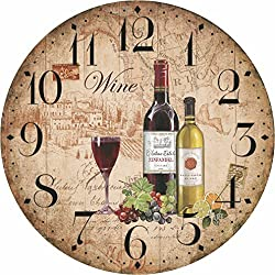 12 Retro Vintage Wine Pattern France Style Non-Ticking Silent Wooden Wall Clock Art Decoration.