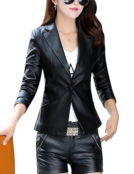 Amazon.com: tanming Mujer Un Botón traje de piel sintética ...