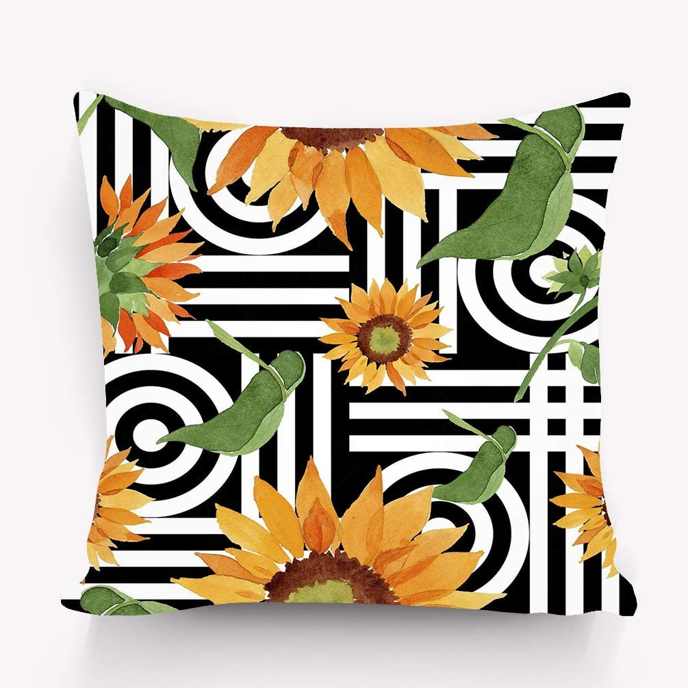 Amazon Com Eiquiss Pillow Case Watercolor Orange Sunflower Flower