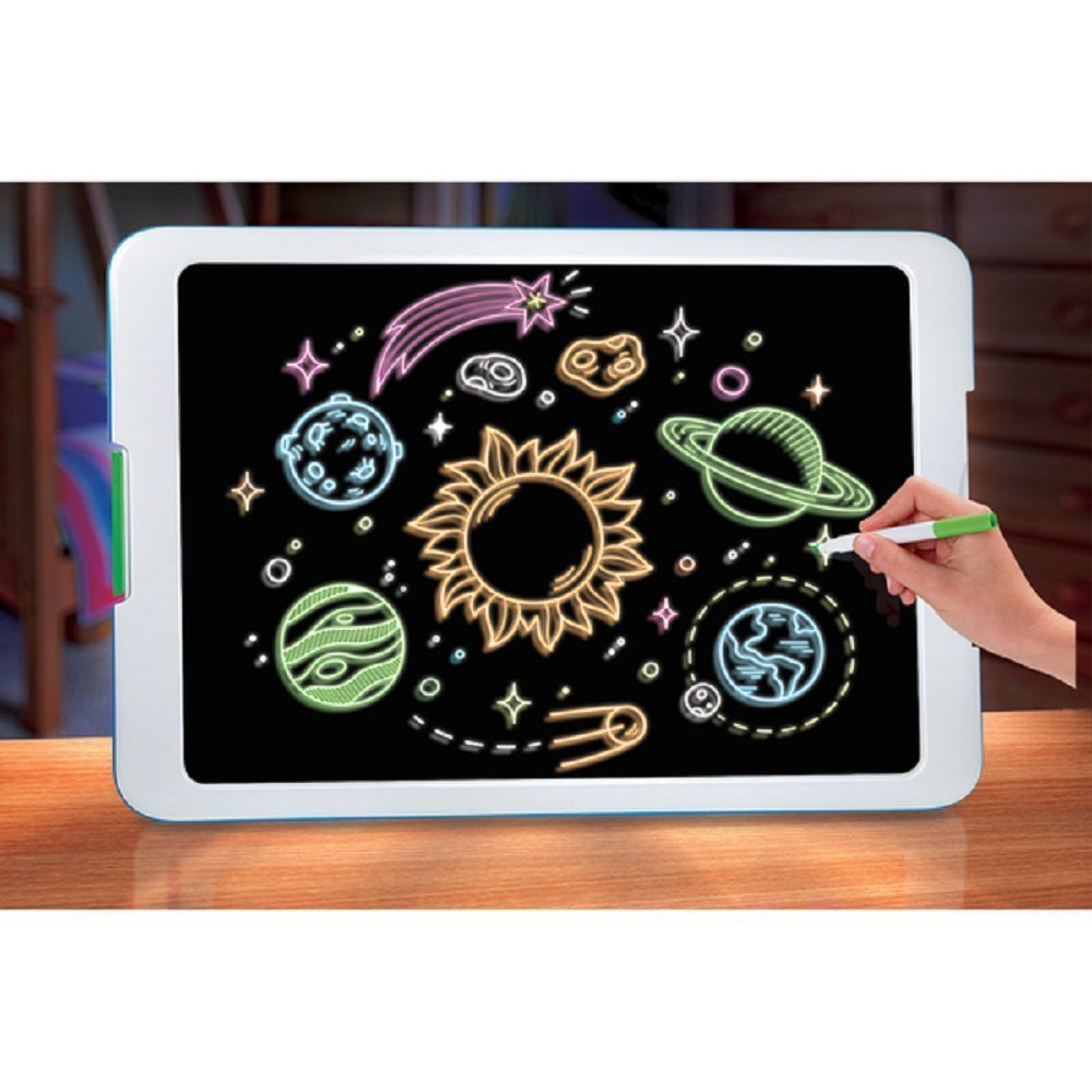 Neon Glowing Art Drawing Easel Set includes 6 Washable Markers 5 Different Bright LED Lights Modes NEW