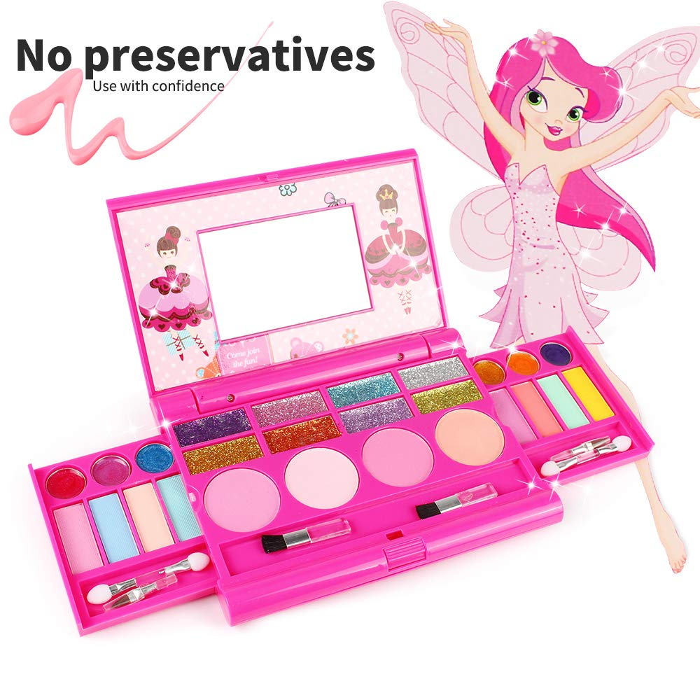 KIDCHEER Real Makeup Palette for Girls Washable Cosmetic Play Kit Princess Make up Set with Mirror by KIDCHEER