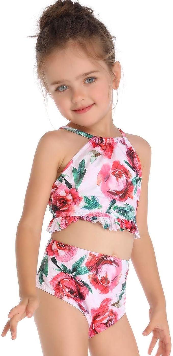Nidoul Little Girls Two Pieces Swimsuit Bikini Set Ruffle Swimwear Beach Bathing Suit