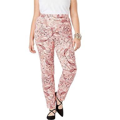 ba0ddd28a63d2 Roamans Women s Plus Size Ultimate Ponte Straight Leg Pant - Blush Paisley  Print