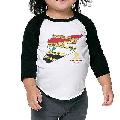 Syria Dangerou Area Toddler 100% Cotton Raglan 3/4 Sleeve Baseball T Shirts Tops