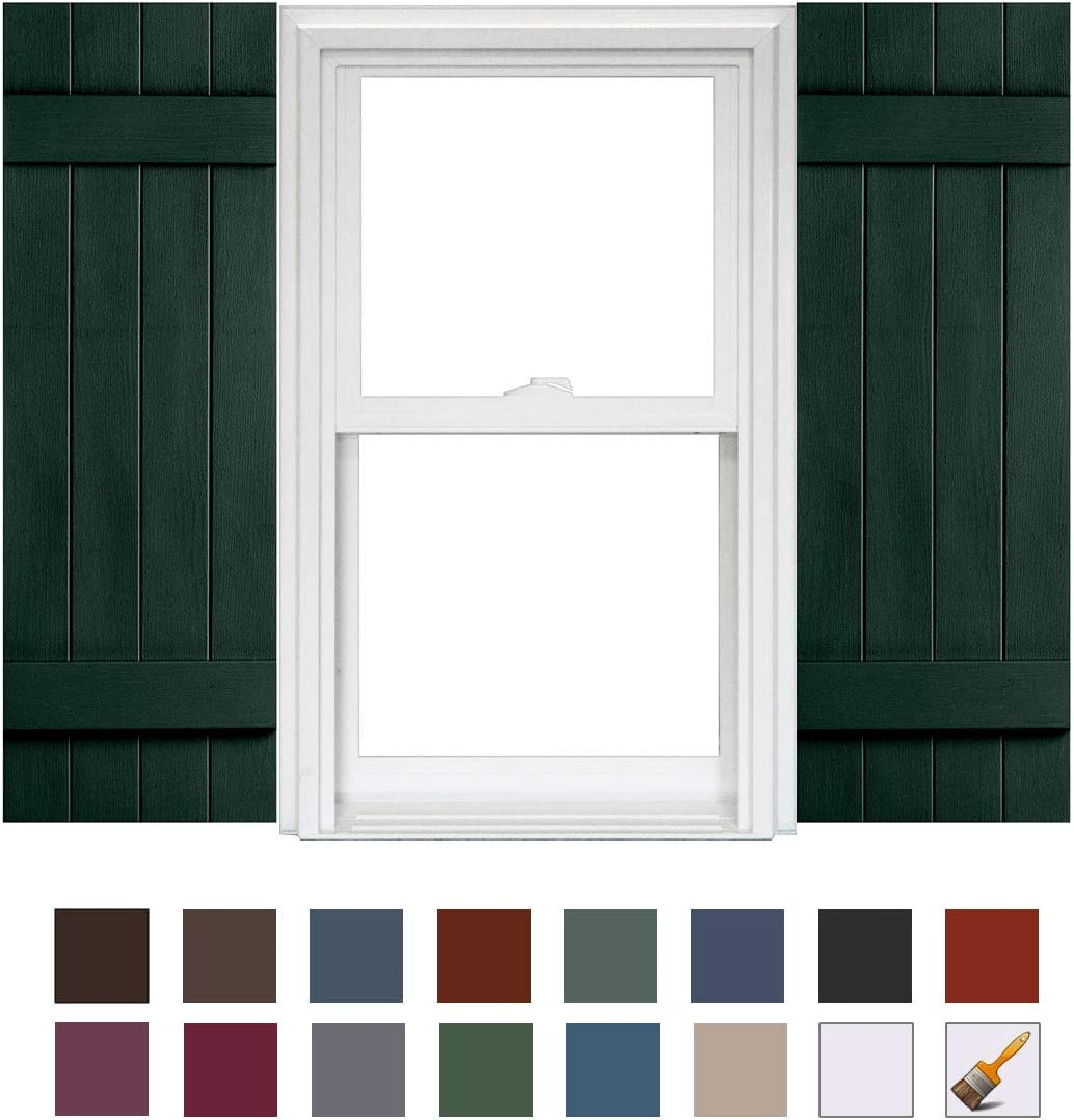 x 43in Homeside 4 Board and Batten Joined Shutter 1 Pair 14-1//2in 044 Cranberry