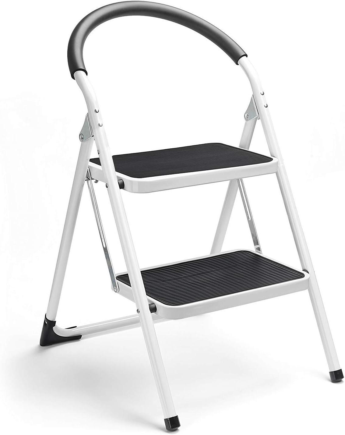 Escalera de acero con mango antideslizante y pedal ancho de 150 kg, color blanco y negro, combo de 2 pies, escalera plegable de 2 peldaños: Amazon.es: Hogar