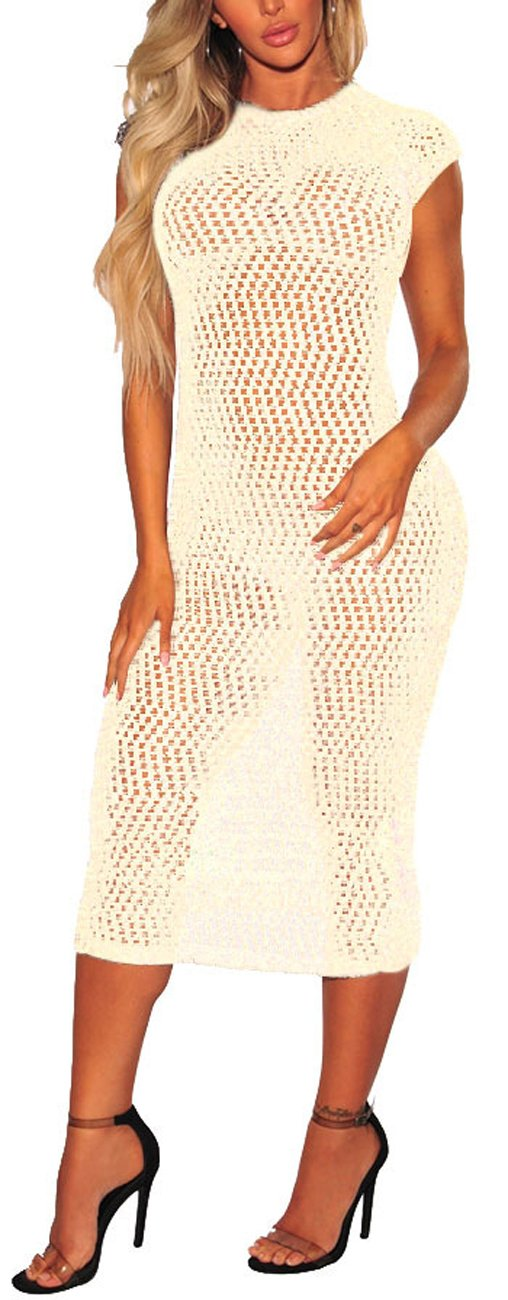 sexycherry Women's Sexy Sleeveless Swimsuit Cover Up Summer Casual See Thru Sheer Maxi Dresses Plus Size Swimwear by sexycherry