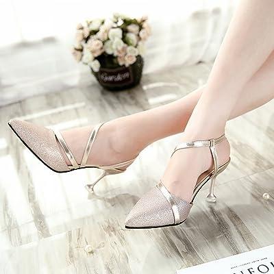 Tacones Altos Bien con Zapatos de Moda Baotou Boca Baja Zapatos con Bandas de Plata con una Sola Hebilla de Zapatos , oro , EUR34.5