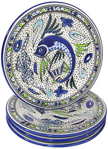 Aqua Fish (Le Souk Ceramique AF43 Stoneware Dinner Plates, Set of 4, Aqua Fish)