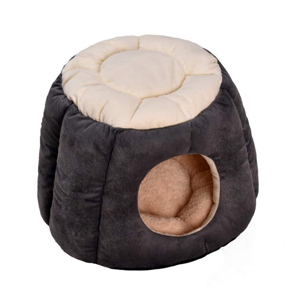 Yzibei Comodo Inverno Caldo Lettiera Lettiera Pet Four Seasons Cat Sacco a Pelo Deep Sleep Semi-Closed Cat Tenda Cat House (colore   Grigio, Dimensione   M)