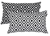 Accent Home Printed Cotton Cushion Cover,Throw Pillow Case, Slipover Pillowslip For Home Sofa Couch Chair Back Seat,2pc pack 12''x20'' CROSS design in Black color