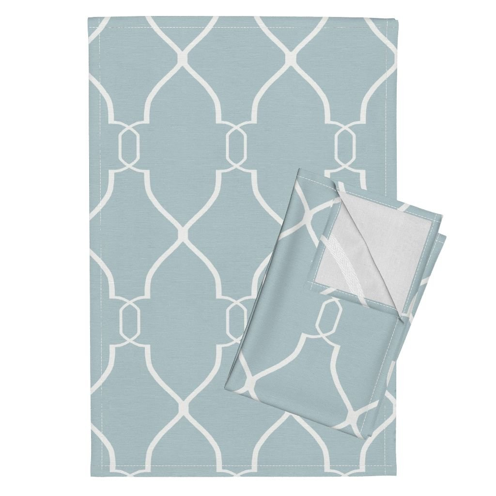 Roostery Trellis Links Lattice Geometric Spa Green Blue Gray Tea Towels Laura Trellis in Spa Blue by Willowlanetextiles Set of 2 Linen Cotton Tea Towels