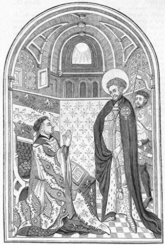 BEDS. Duke Bedford & St George-Missal - 1845 - old print - antique print - vintage print - Beds art prints