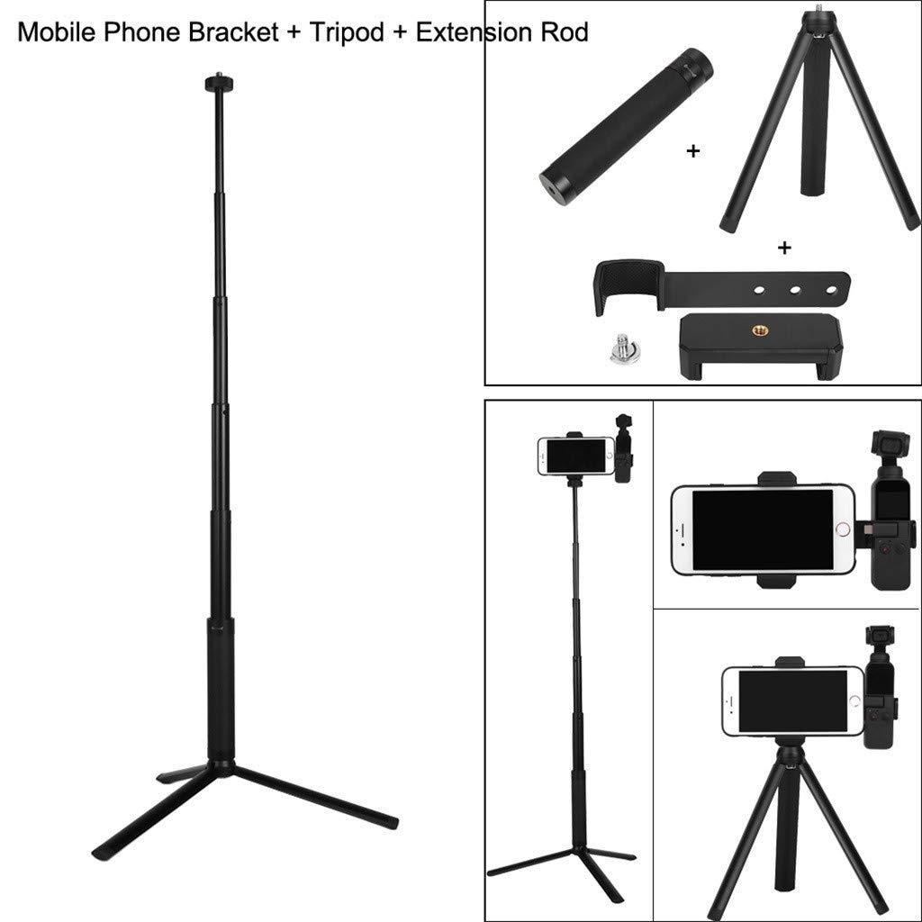Tineer Smart Phone Stand Holder Bracket + Tripod Mount + Selfie Stick Extension Rod Set Accessories for DJI Osmo Pocket Handheld Gimbal Camera