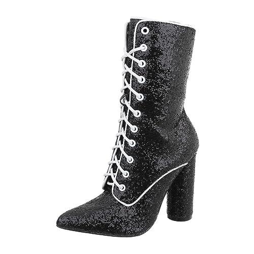 Zapatos para Mujer Botas Mini tacón Botines con Cordones Negro Tamaño 39: Amazon.es: Zapatos y complementos