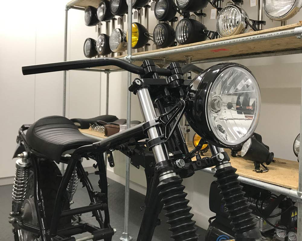 Retro Motorrad Scheinwerfer 7.5  55W mit Slim LED Halo Schwarz Homologated