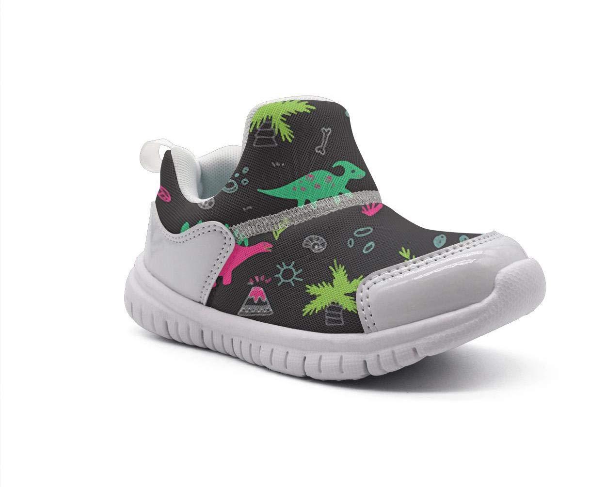 ONEYUAN Children Black Cute Untamed Fingerlings Dinosaurs Kid Casual Lightweight Sport Shoes Sneakers Walking Athletic Shoes
