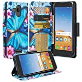 Alcatel Tetra/Verso/IdealXCITE/CameoX/Raven LTE (A574BL)/U50 (5044R) Case [Kickstand] Pu Leather Wallet Case Cover ID & Credit Card Slot Cases for Alcatel Tetra/Raven - Blue Butterfly