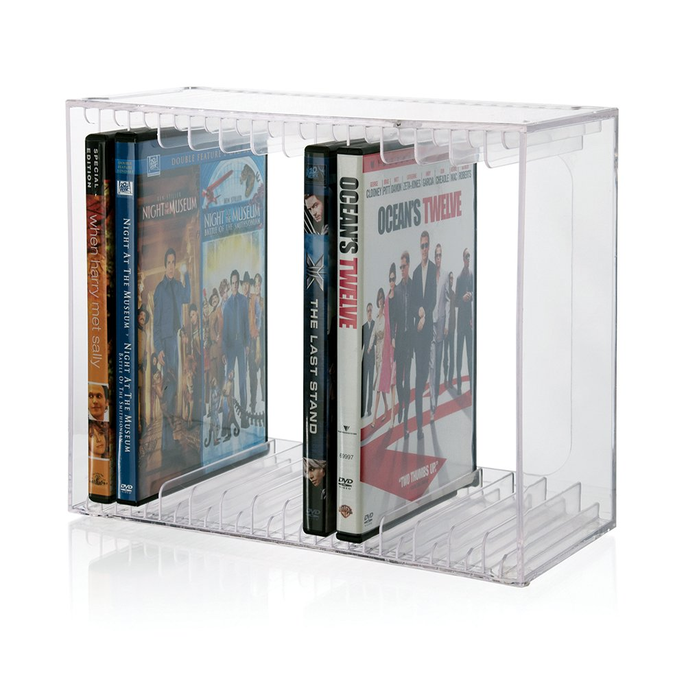 STORi Stackable Clear Plastic DVD Holder - holds 14 standard DVD cases