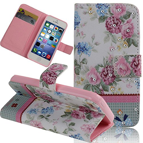 Case for iPhone 5s,Cover for iPhone 5s,Case for iPhone 5,Wallet Case for iPhone 5s,NSSTAR Cute Flower Bowknot Inlaid Shiny Glitter Diamond with Soft TPU Inner Case Pu Leather Flip Protective Case Cover with Stand for iPhone 5 5S (Y Flower #6)